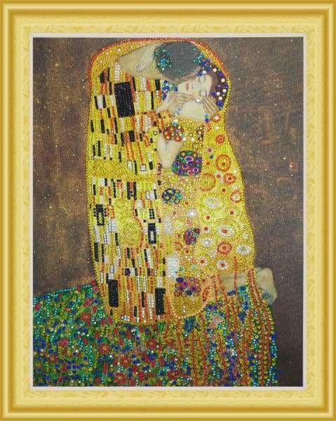 Partial Diamond Painting Kit - The Kiss (Crystal Diamonds - Special Shapes)-40x50cm- - Paint With Diamonds