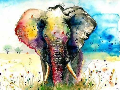 Safari Diamond Painting Kit - The Rainbow Elephant-Square 15x20cm- - Paint With Diamonds
