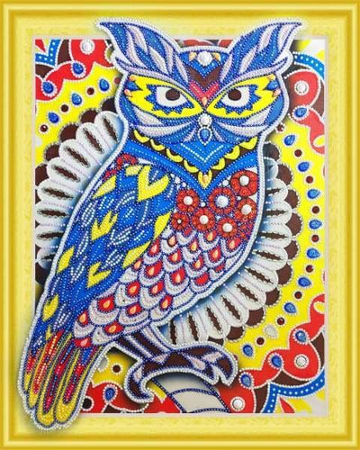 Partial Diamond Painting Kit - The Wise Owl (Crystal Diamonds - Special Shapes)-40x50cm- - Paint With Diamonds
