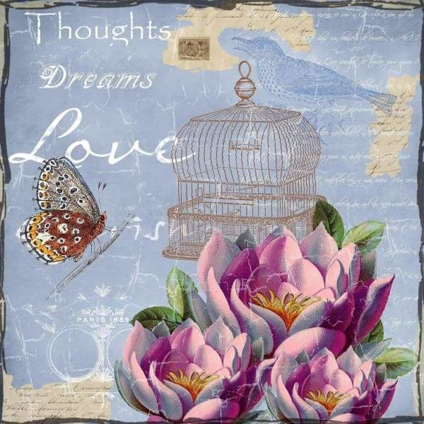 Quote Diamond Painting Kit - Thoughts Dreams Love-Square 20x20cm- - Paint With Diamonds