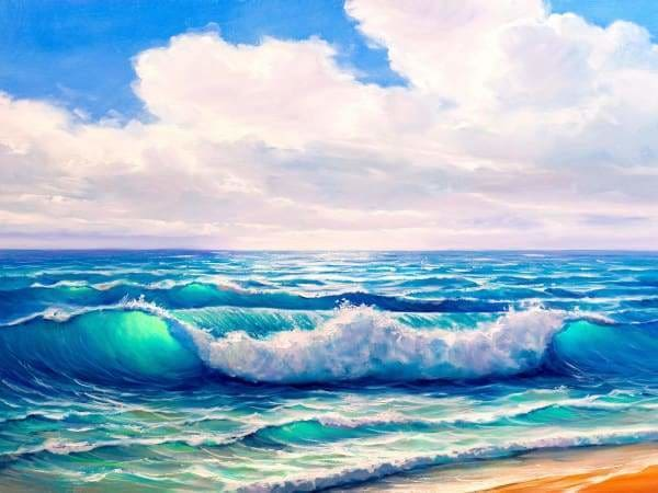 Ocean Diamond Painting Kit - Tranquil Blue Wave-Square 15x20cm- - Paint With Diamonds