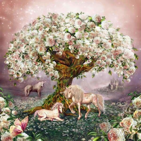 Unicorn Diamond Painting Kit - Unicorn Rose Tree-Square 20x20cm- - Paint With Diamonds