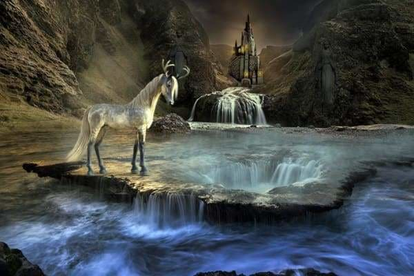 Waterfall Diamond Painting Kit - Unicorn Waterfall-Square 20x30cm- - Paint With Diamonds