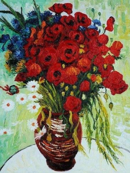 Flower Diamond Painting Kit - Vase With Daisies And Poppies-Square 15x20cm- - Paint With Diamonds