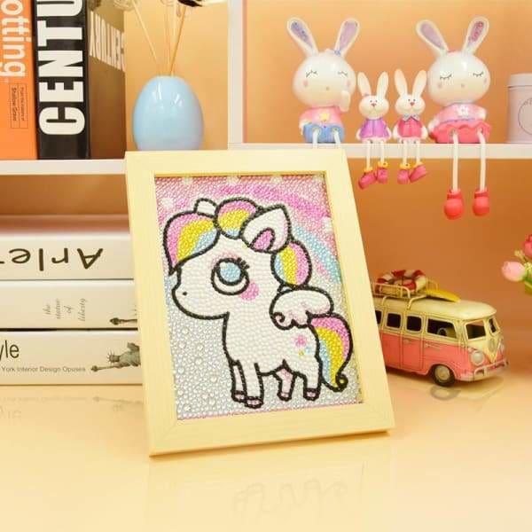 Kids Diamond Painting Kit - White Rainbow Pony Crystal Diamond Beginner Kit-No Frame-15x20cm- - Paint With Diamonds