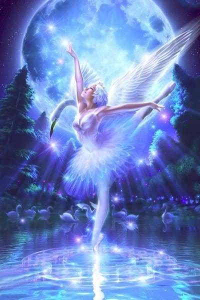 Fantasy Diamond Painting Kit - White Swan-Square 20x30cm- - Paint With Diamonds