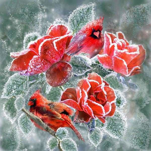 Flower Diamond Painting Kit - Winter Roses Cardinals-Square 20x20cm- - Paint With Diamonds