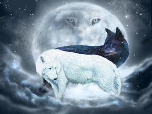 Moon Diamond Painting Kit - Yin Yang Wolves-Square 15x20cm- - Paint With Diamonds