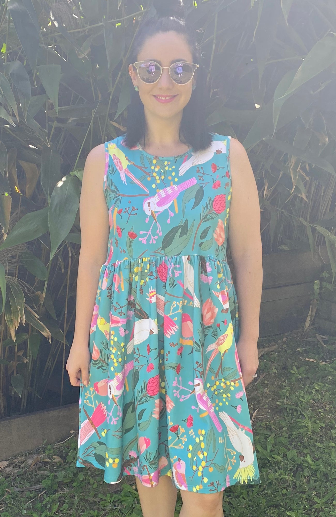 Be Happy Dress in Teal Birds