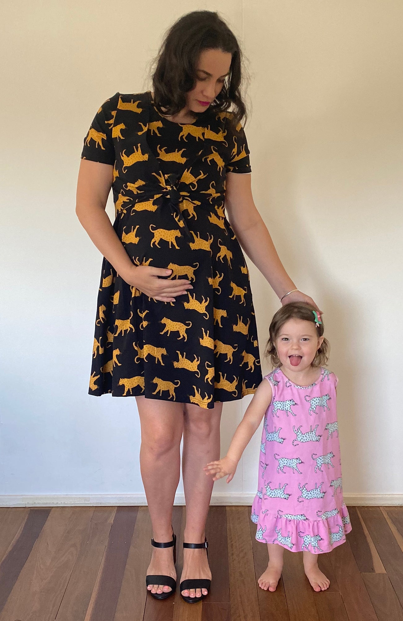 Bump and Beyond Breast Feeding Friendly Dress in Natural Leopard Print