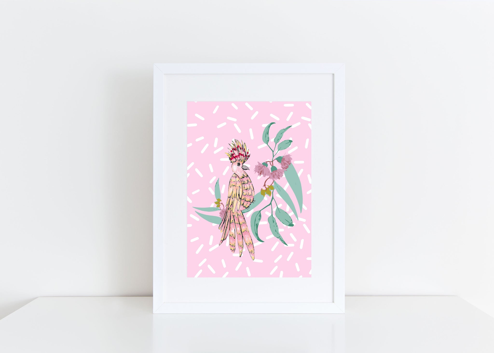 A4 Pink Parrot Art Print - inBLACK. The Label | Women's Black Dresses