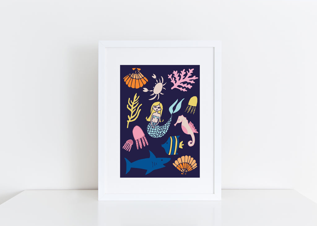A4 Under the Sea Print - Blue