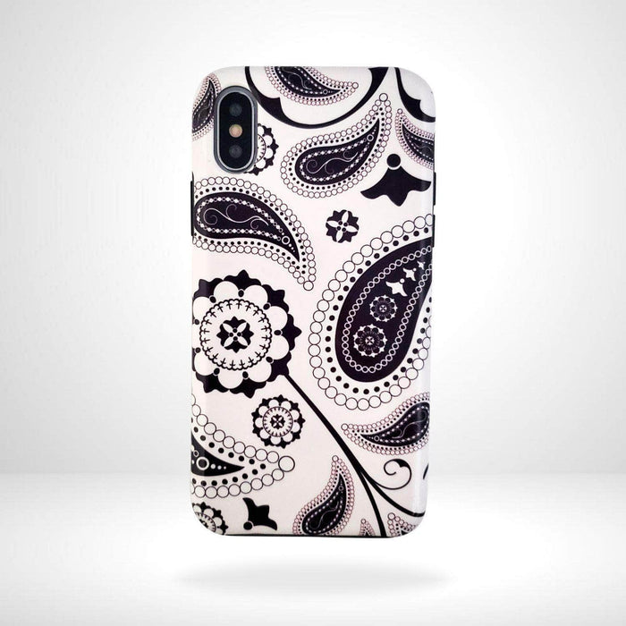 iPhone Case Black & White Paisley