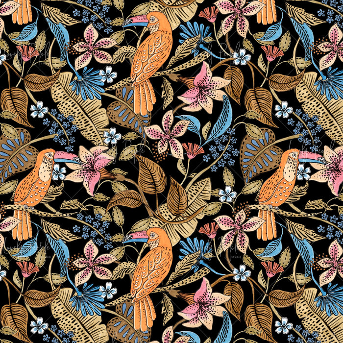 LPS154 black toucans tropical surface pattern design for digital printing