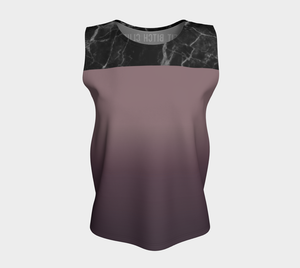 Marble Print Upper Loose Fit Tank Top in Purple Ombre - Fit Bitch Club