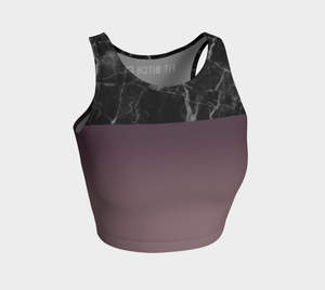 Marble Print Crop Top in Purple Ombre - Fit Bitch Club