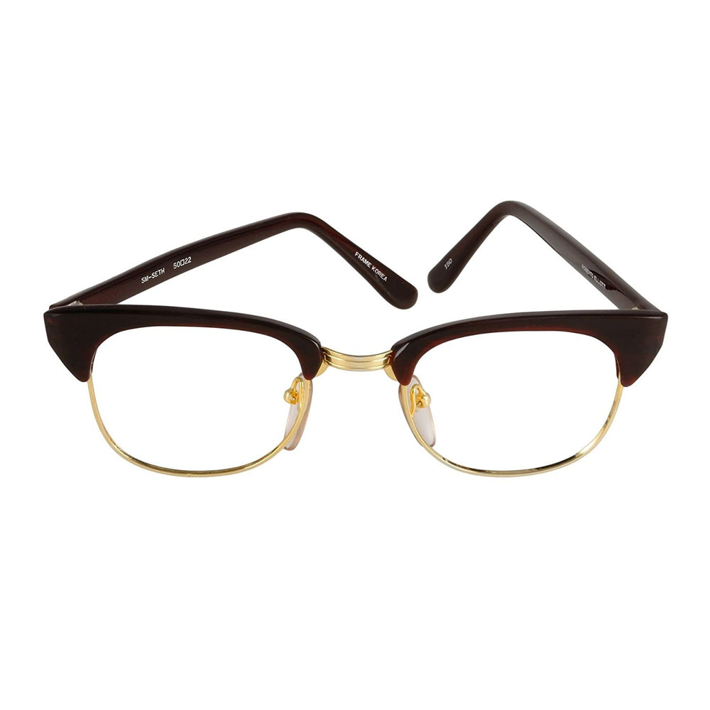 Roberto Elliott Eyeglasses Frame SM-SETH Brown/Gold 48-22-145 Made in Korea