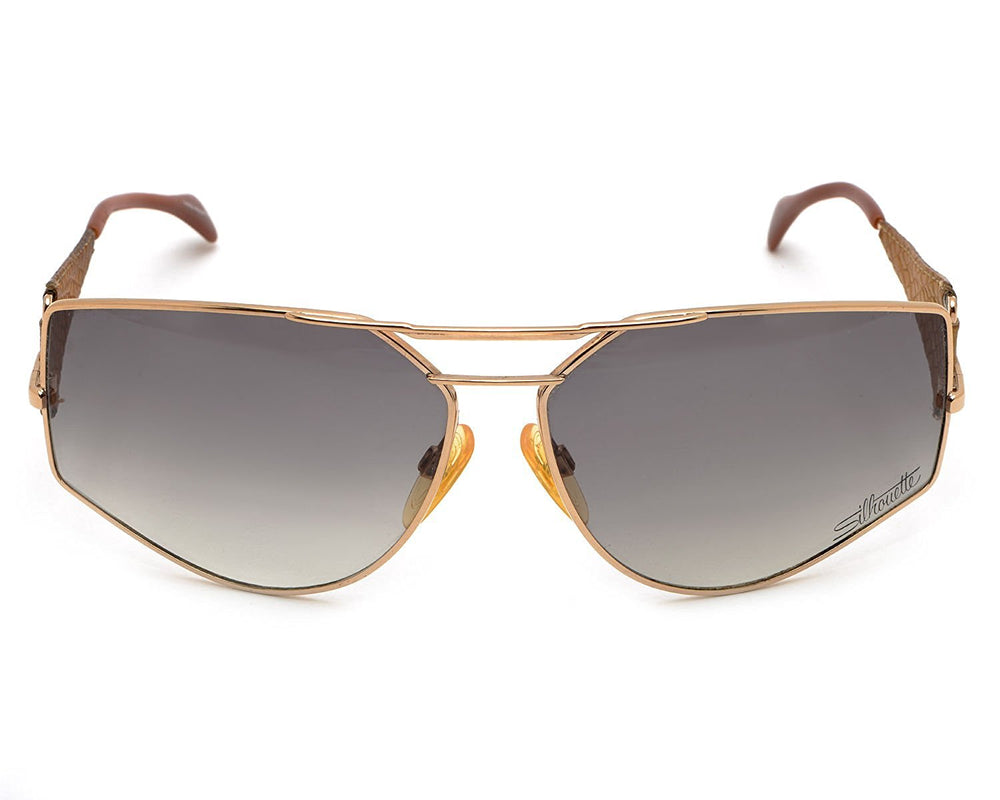 Silhouette Sunglasses Gold Beige Leather Temples 68-13 Made in Austria - Eyeqglass