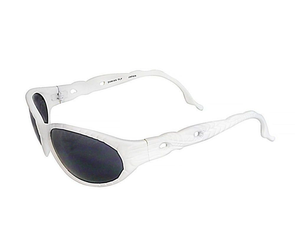 Black Flys Woodchuck To Grey Squirrel Damian Fly White Sunglasses Made in Japan - Eyeqglass