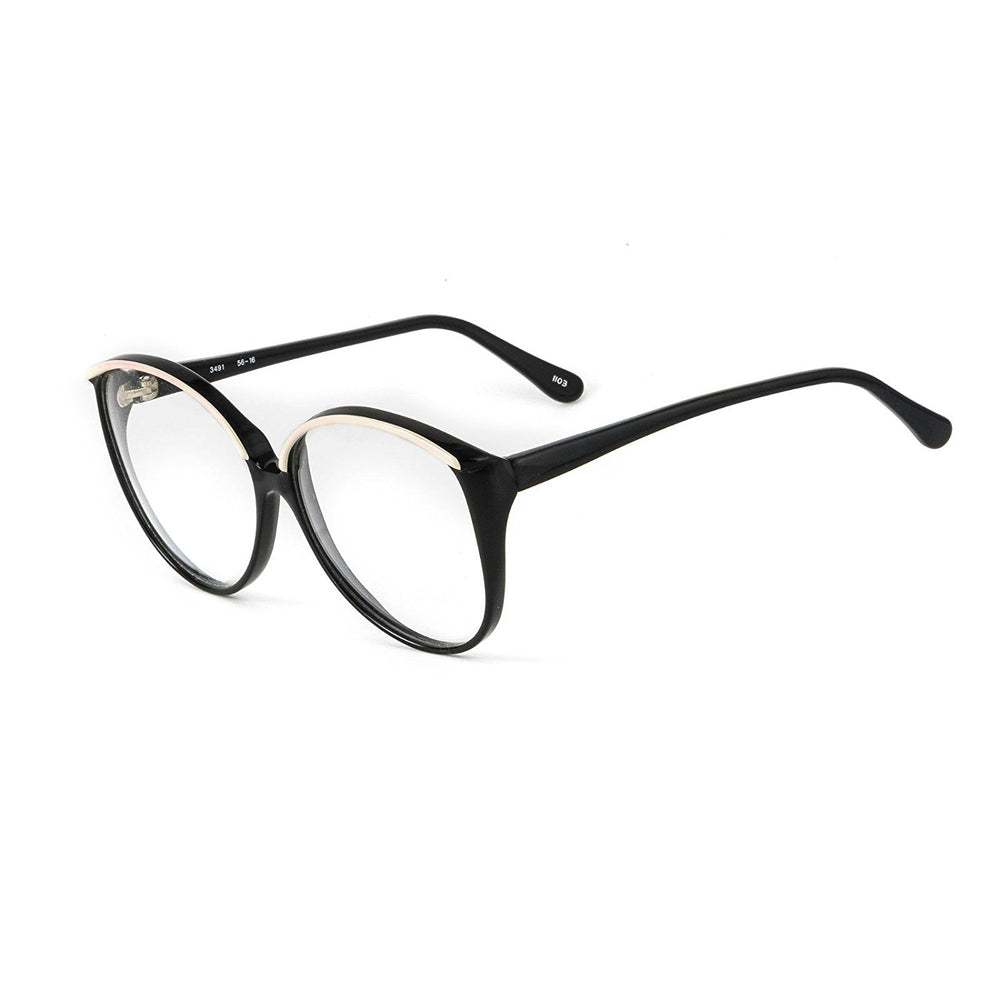 Sir Winston Eyeglasses 3491 Black White 1103 56-16 Made in Italy - Eyeqglass