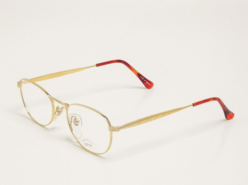 Valentine Eyeglasses 18KGP 01 size 50-18-140 18K Gold Plated Made In Japan