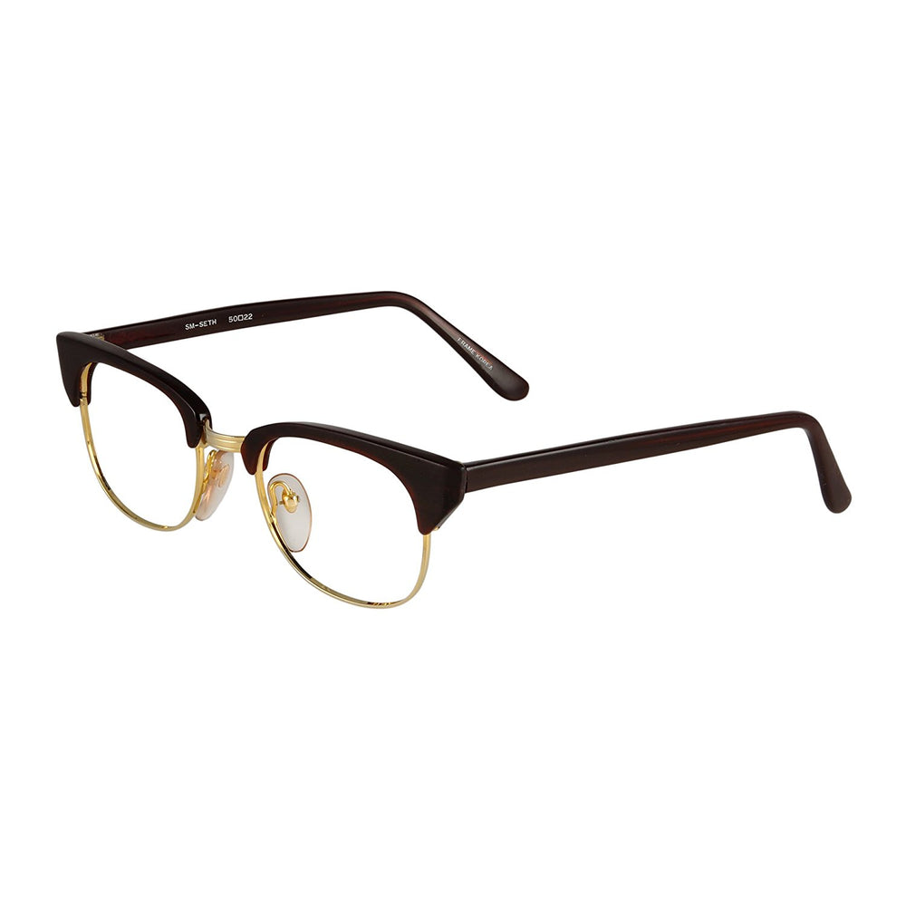 Roberto Elliott Eyeglasses Frame SM-SETH Brown/Gold 50-22-150 Made in Korea
