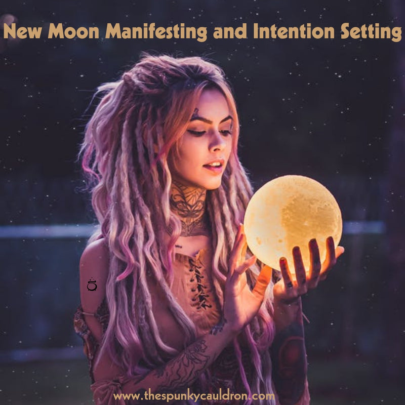 Spunky Cauldron New Moon Manifesting and Intention Setting Graphic Person holding a moon in their hands