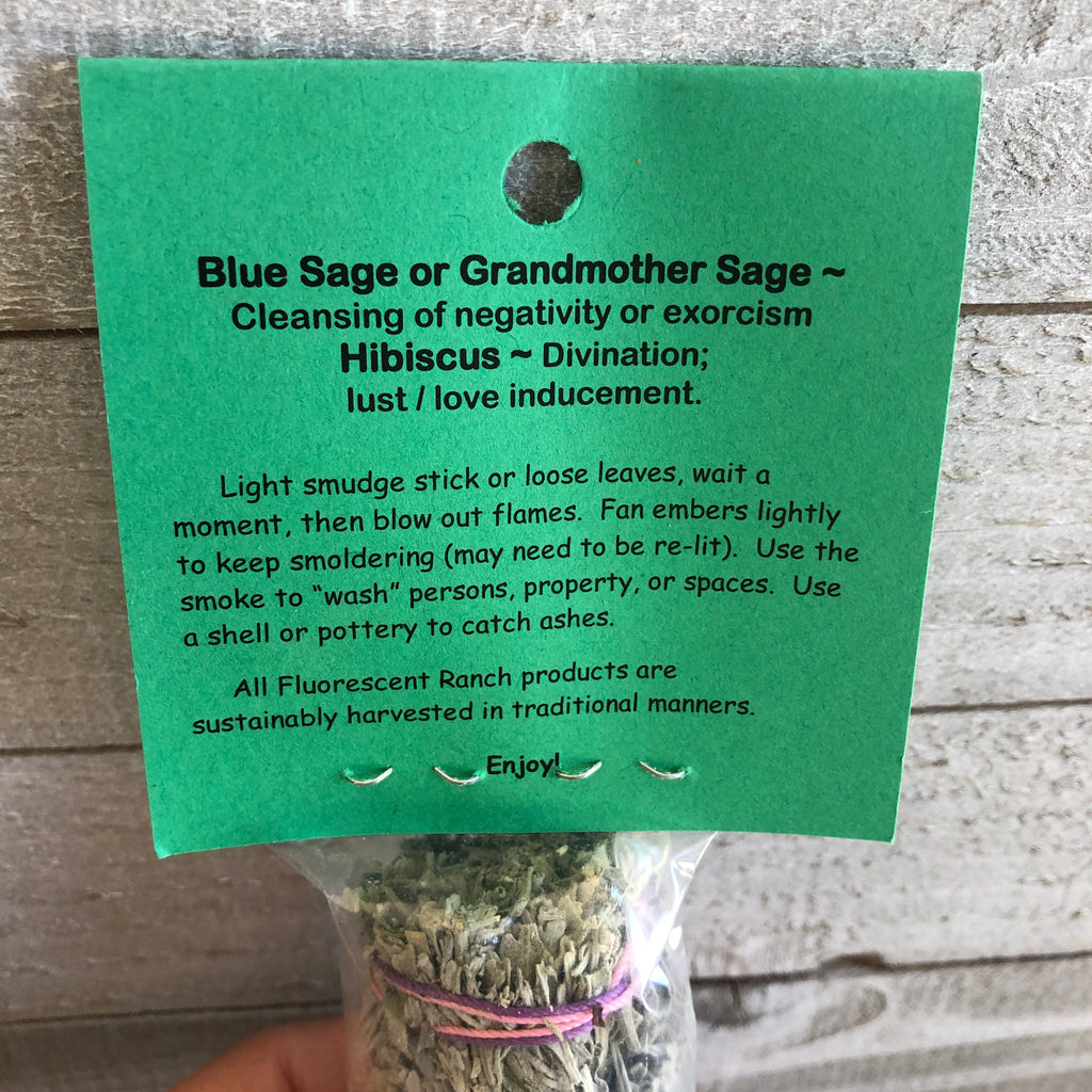 Hibiscus and Blue Sage Smudge Stick