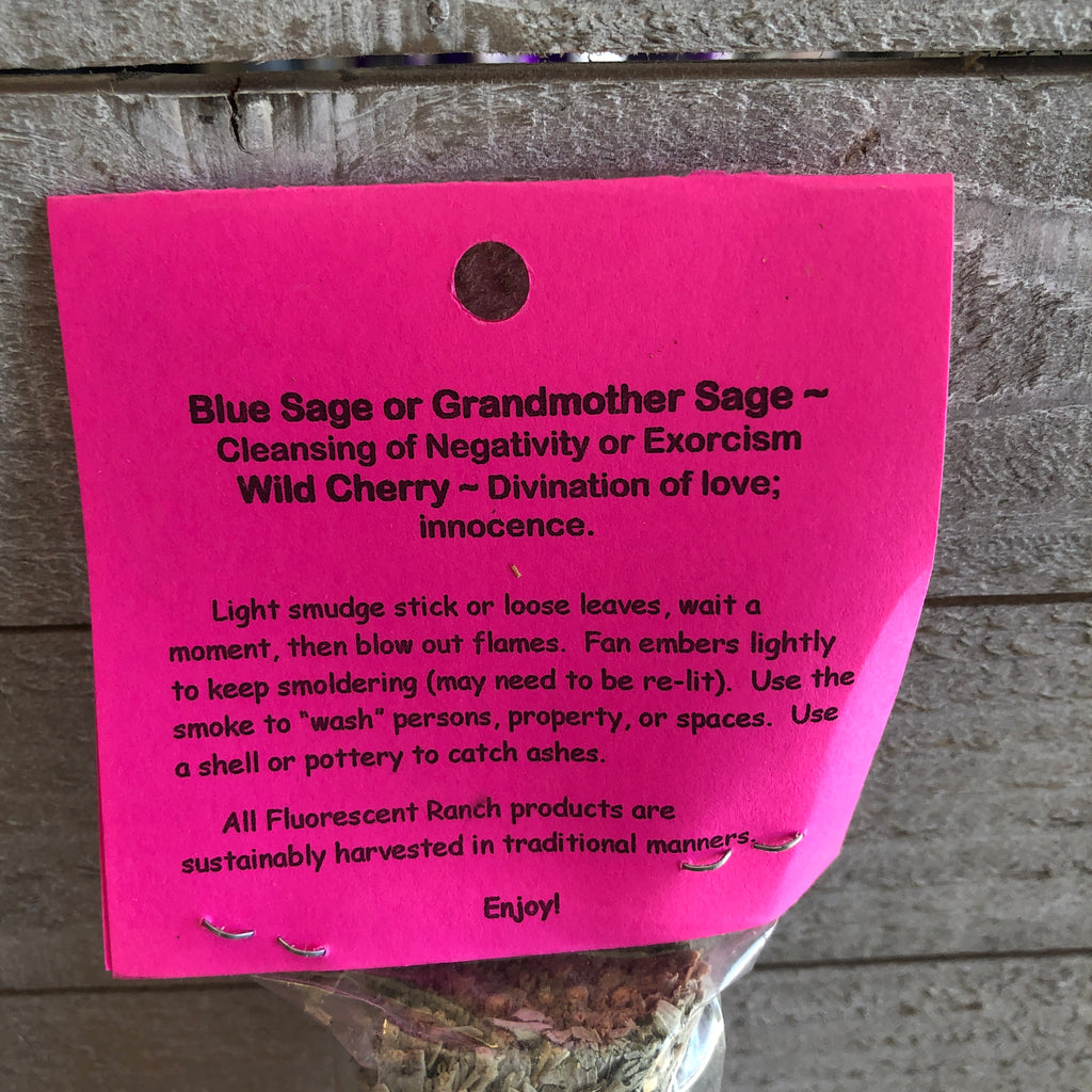 Wild Cherry and Blue Sage Smudge Stick