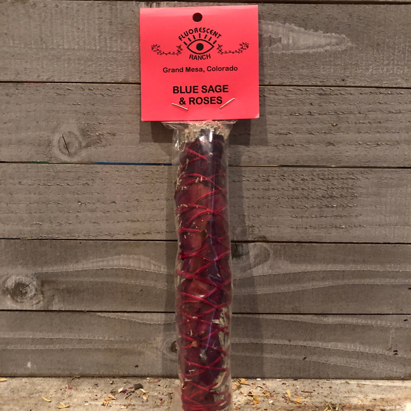 Blue Sage & Roses Smudge Stick