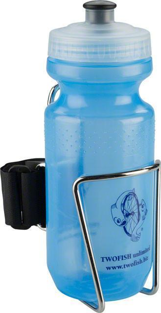 TwoFish QuickCage Water Bottle Cage: Stainless, 21oz Bottle Included-TwoFish-Voltaire Cycles of New Jersey