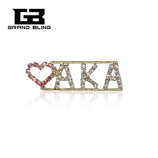 "Fashion Crystal Letter Pin ""LOVE AKA"" Brooch Jewelry with Pink Heart"