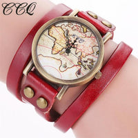 CCQ Vantage Top Brand Luxury Quartz Wrist Watch Bracelet 2017 Women Leather Alloy World Map Globe Analog Quartz Retro Wristwatch