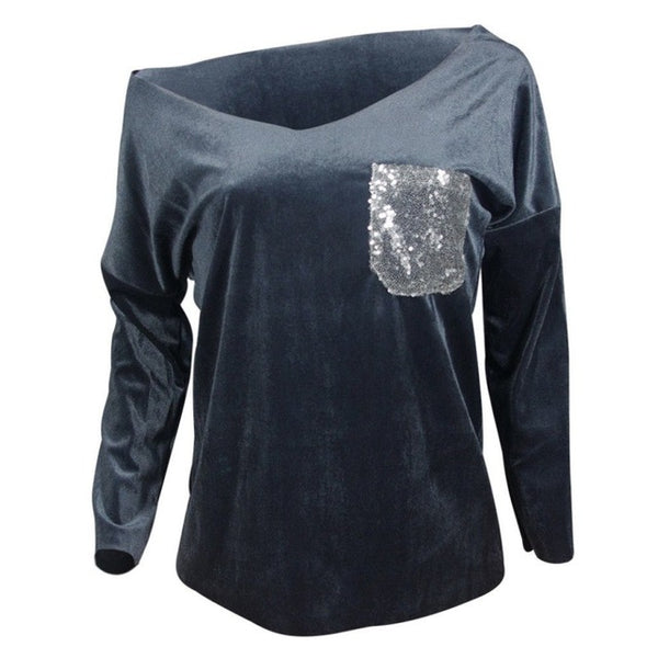 USA Fashion Women Off Shoulder V-neck Sequined Bling Long Sleeve T-Shirt Loose Casual Hot Tops T Shirt Ladies New Arrival Clothe