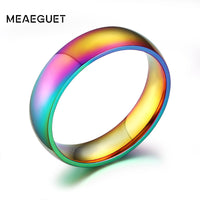 Meaeguet 6mm Wide Engagement Wedding Rings Rainbow Color Rings Jewelry Wholesale Stainless Steel Ring