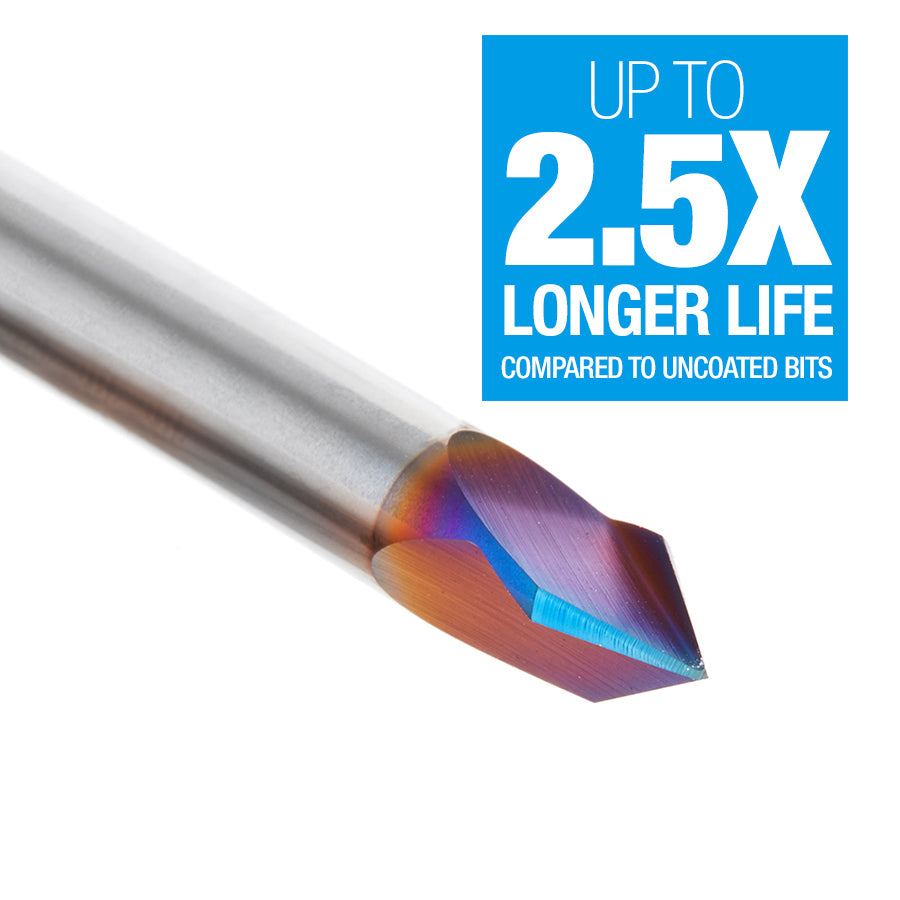 45624-K Solid Carbide 3 Flute V-Groove 60 Deg x 1/4 Dia x 31/64 x 1/4 Inch Shank Spektra™ Extreme Tool Life Coated Router Bit