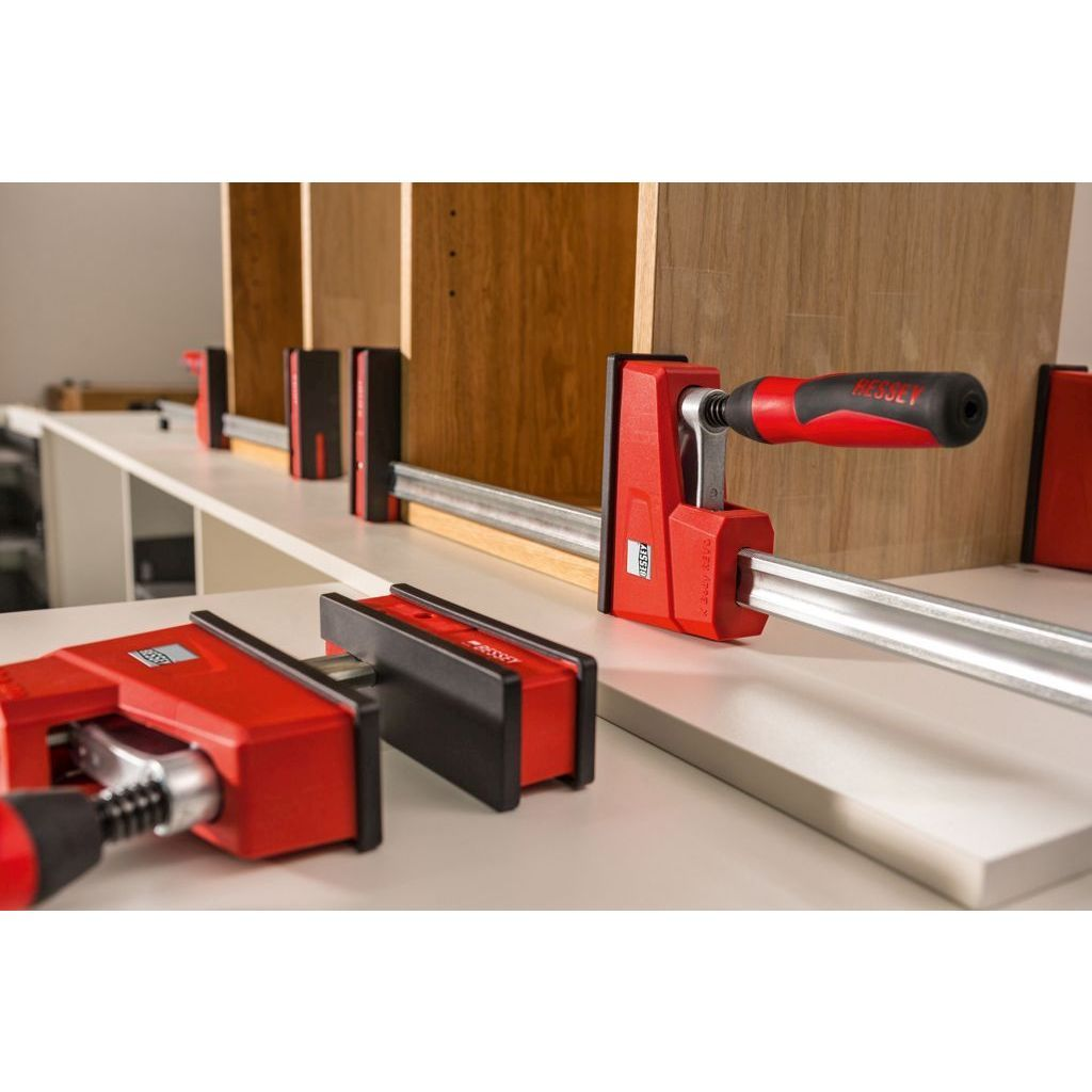 Use the edges of Bessey K Body REVOlution 1700 Pound Parallel Bar Clamps to apply pressure over a longer area