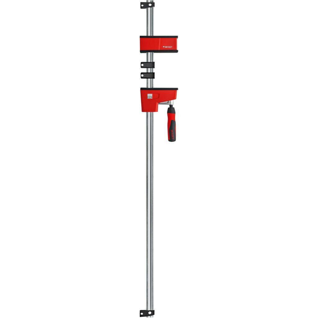 Long Bessey K Body VARIO REVOlution 1700 Pound Parallel Bar Clamp with moveable heads and rail protection clips to protect workpiece