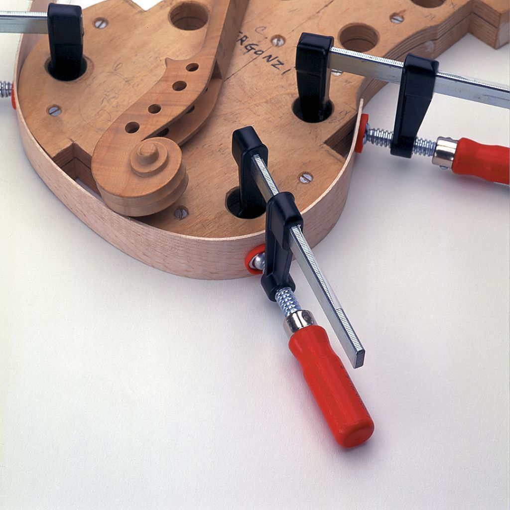 Bessey 330 Pound Lightweight F-Clamps bending wood on luthier jig