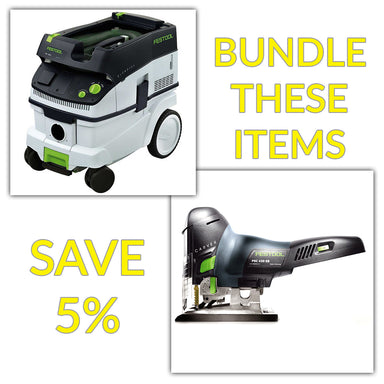 Bundle & Save! - CT 26 Dust Extractor + Festool Cordless Carvex Barrel Grip Jigsaw | Tool Only