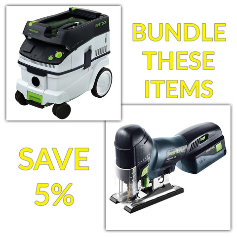 Bundle & Save! - CT 26 Dust Extractor + Festool Cordless Carvex Barrel Grip Jigsaw | Battery & Charger