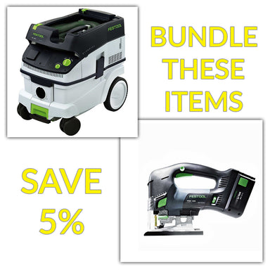 Bundle & Save! - CT 26 Dust Extractor + Festool Cordless Carvex D-Handle Jigsaw | D-Grip with Battery & Charger