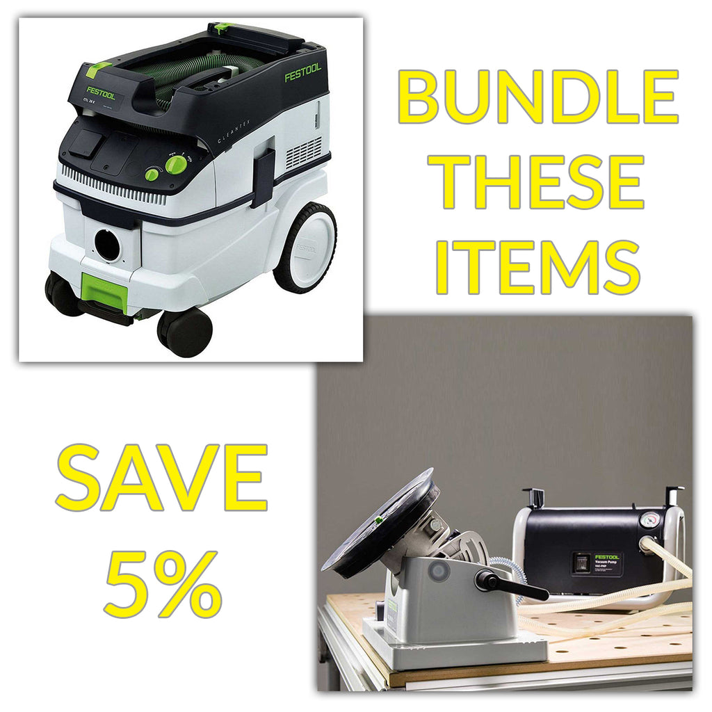 Bundle & Save! - CT 26 Dust Extractor + Festool VAC SYS Suction Clamping System Set | Pump & SE1 Clamping Module