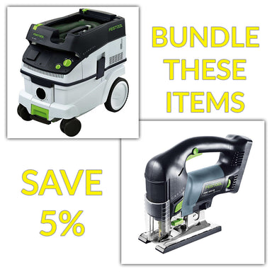 Bundle & Save! - CT 26 Dust Extractor + Festool Cordless Carvex D-Handle Jigsaw | Tool Only