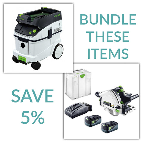 Bundle & Save! - CT 36 Dust Extractor + Festool TS 55 REQ Track Saw | Without Guide Rail