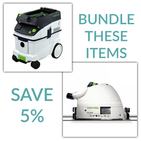 Bundle & Save! - CT 36 Dust Extractor + Festool TS 75 EQ TrackSaw - Imperial Scales | With Guide Rail