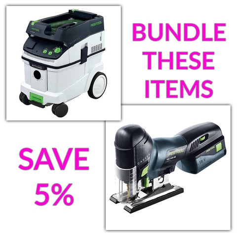 Bundle & Save! - CT 36 AC - AutoClean Dust Extractor + Festool Cordless Carvex Barrel Grip Jigsaw | Battery & Charger