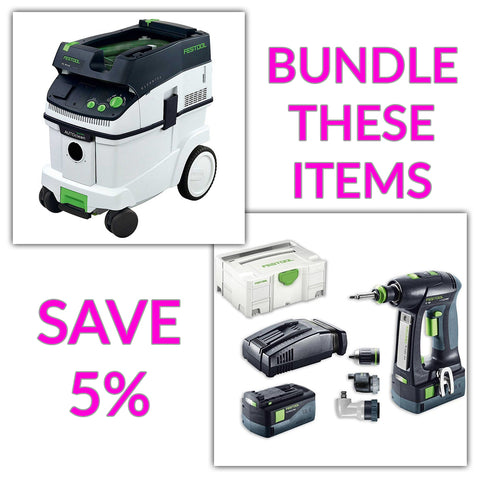 Bundle & Save! - CT 36 AC - AutoClean Dust Extractor + Festool C 18 Drill with Airstream Batteries | Set