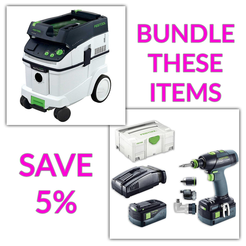 Bundle & Save! - CT 36 AC - AutoClean Dust Extractor + Festool T 18 Drill with Airstream Batteries | Set