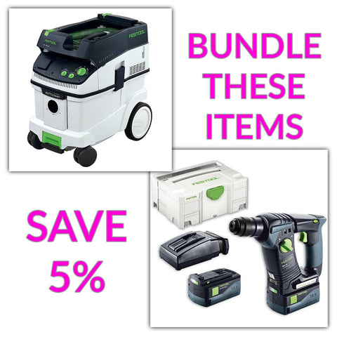 Bundle & Save! - CT 36 AC - AutoClean Dust Extractor + Festool BHC 18 SDS Rotary Hammer Drill | Set